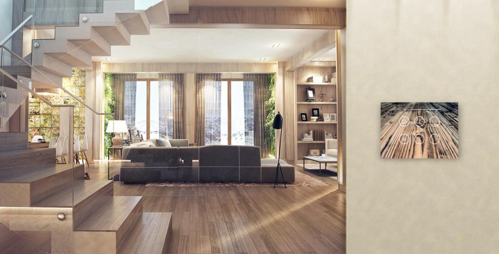 placca domotica effetto legno per la casa